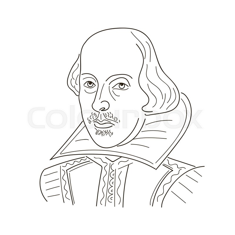 800x800 William Shakespeare. Sketch Illustration. Black And White Vector