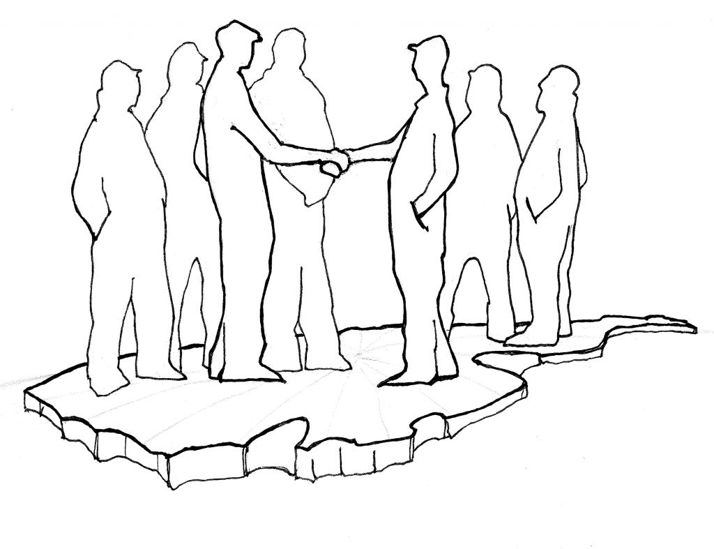 1024x787 Shaking Hands Drawing