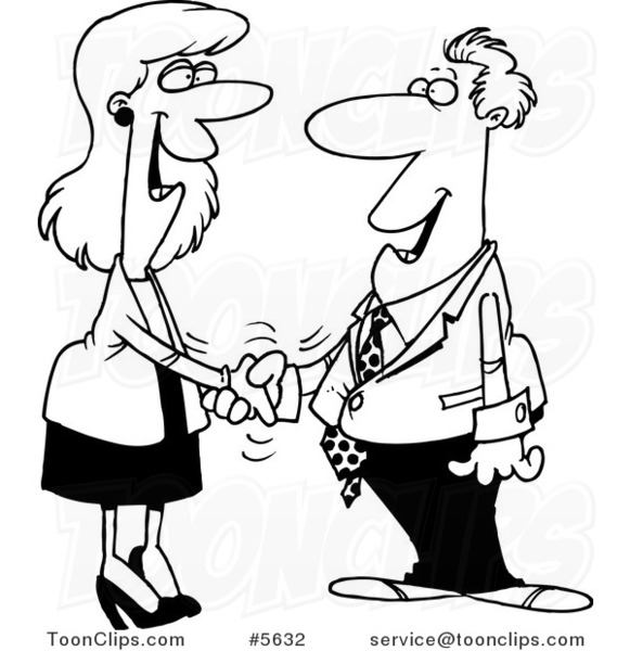 581x600 Cartoon Black And White Line Drawing Of A Business Man And Lady