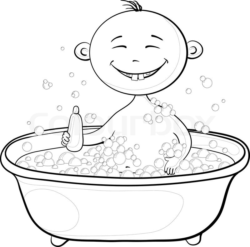 800x792 Cartoon, Contours Cheerful Smiling Child Sitting In A Bath