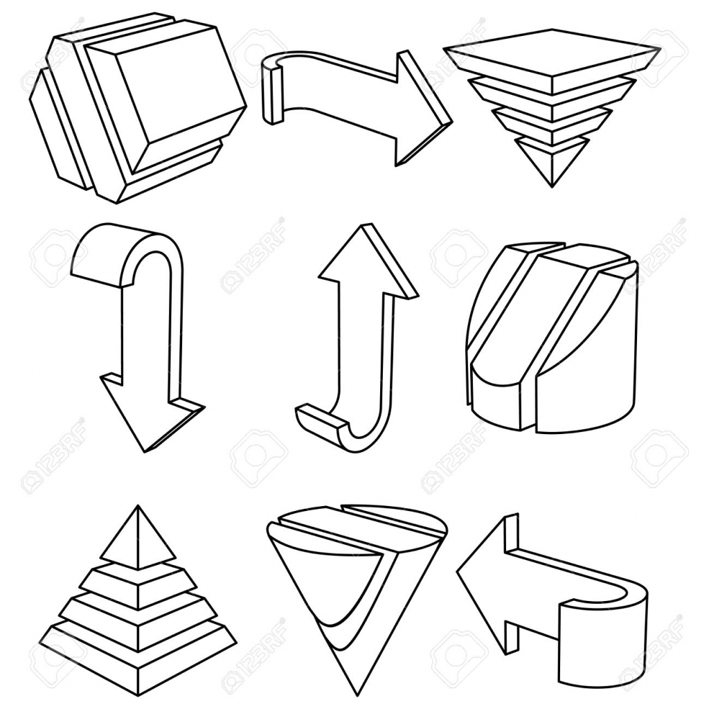 1024x1024 Drawing 3d Geometric Shapes Set Of 3d Geometric Shapes And Arrows