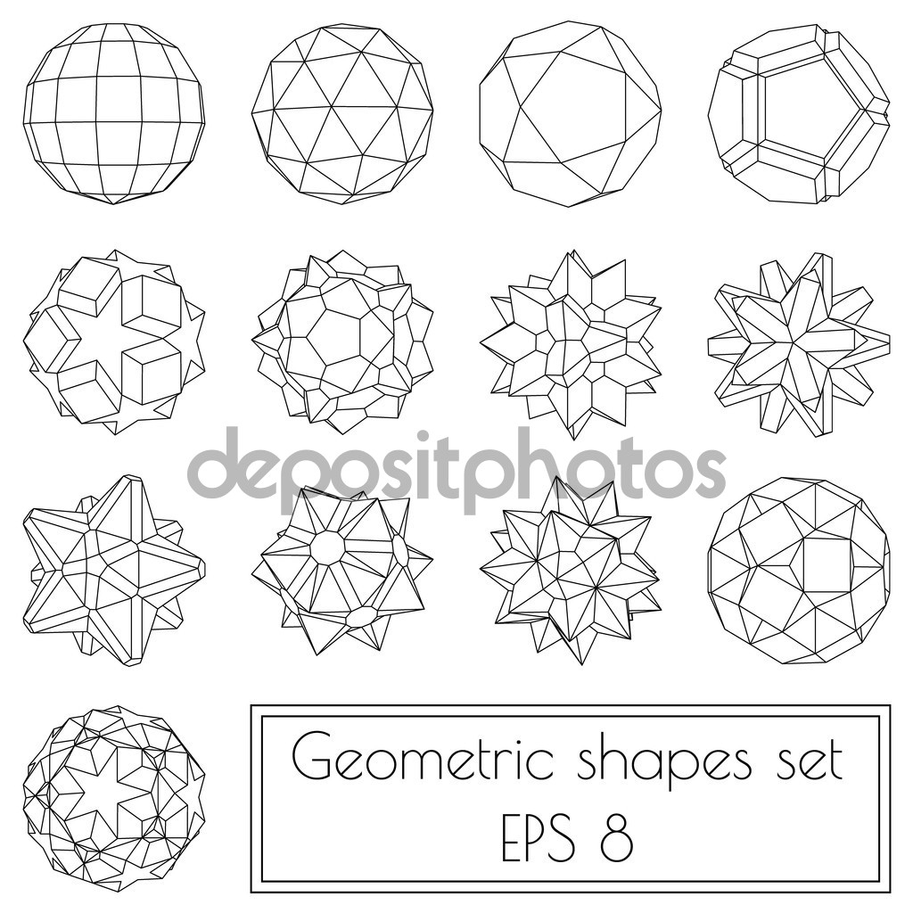 1024x1024 How To Draw 3d Geometric Shapes 3d Geometric Shapes Stock Vector