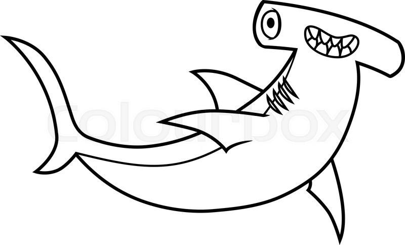 800x484 Cartoon Hammerhead Shark, Vector Illustration On A White