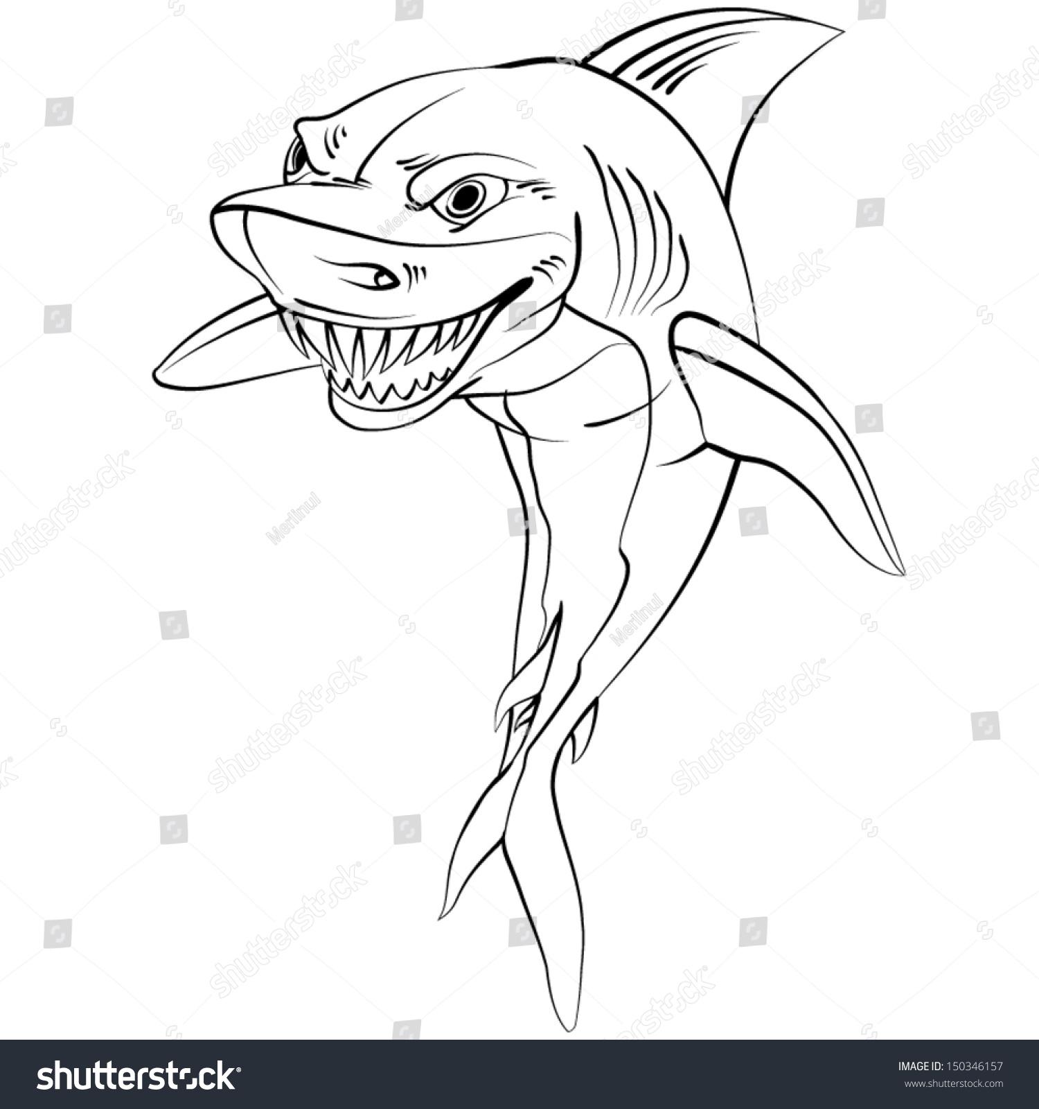 1500x1600 Cartoon Shark Drawing Cartoon Shark Drawing Style Black On Stock