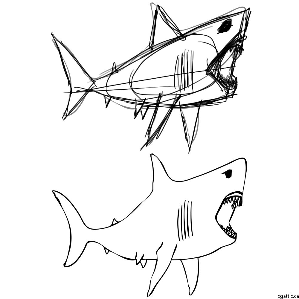 1000x1000 Cartoon Shark Drawing In 4 Steps With Photoshop Shark Drawing