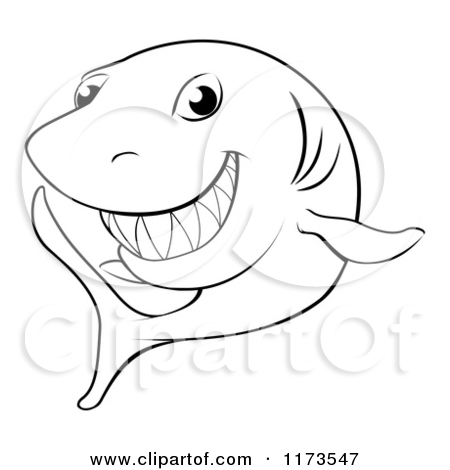 450x470 Cartoon Of A Black And White Grinning Shark Outline