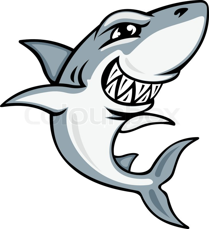 728x800 Cartoon Smiling Shark For Mascot And Emblem Design Stock Vector