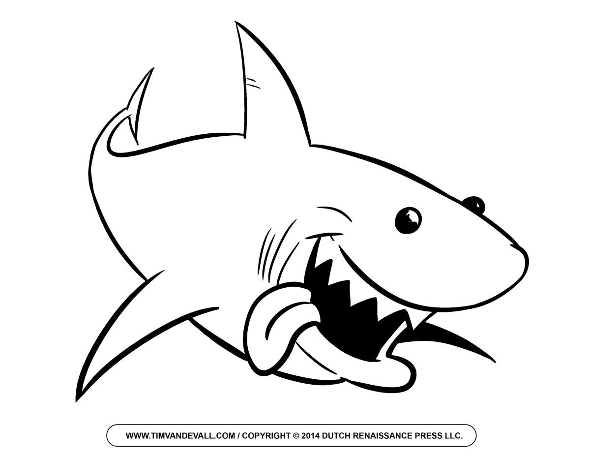 1200x927 Outline Drawing Of A Shark Free Cartoon Shark Clipart Shark