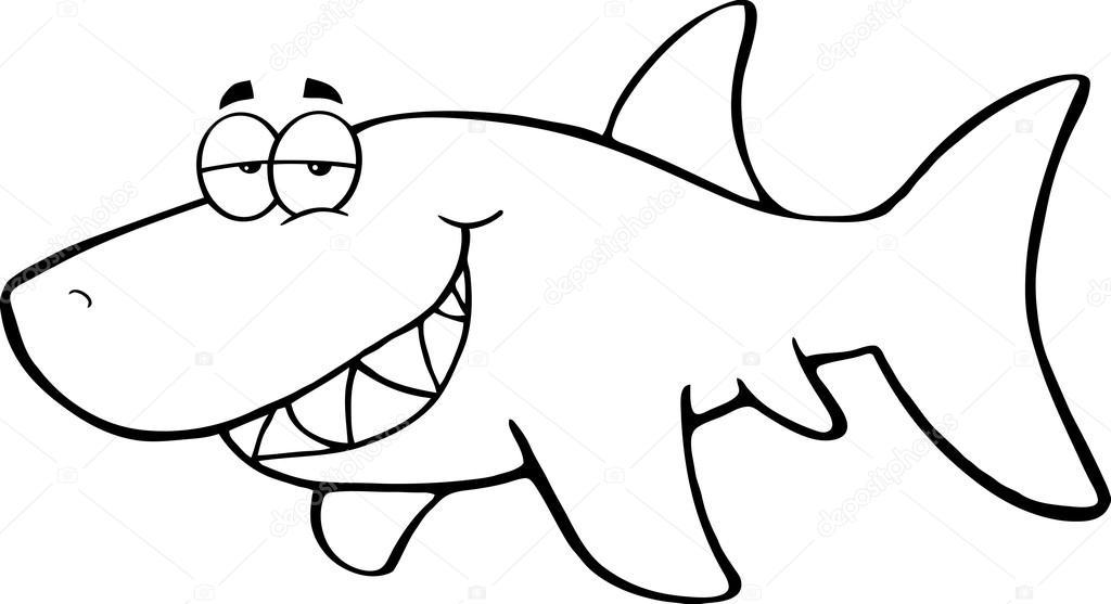 1024x557 Outlined Happy Shark Stock Photo Hittoon