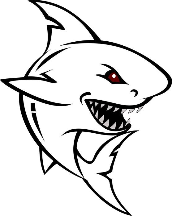 556x700 Angry Shark Cartoon Sketch Wall Mural We Live To Change