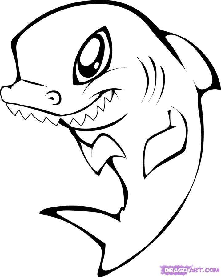 718x900 How To Draw A Cute Shark Step 6 Printable