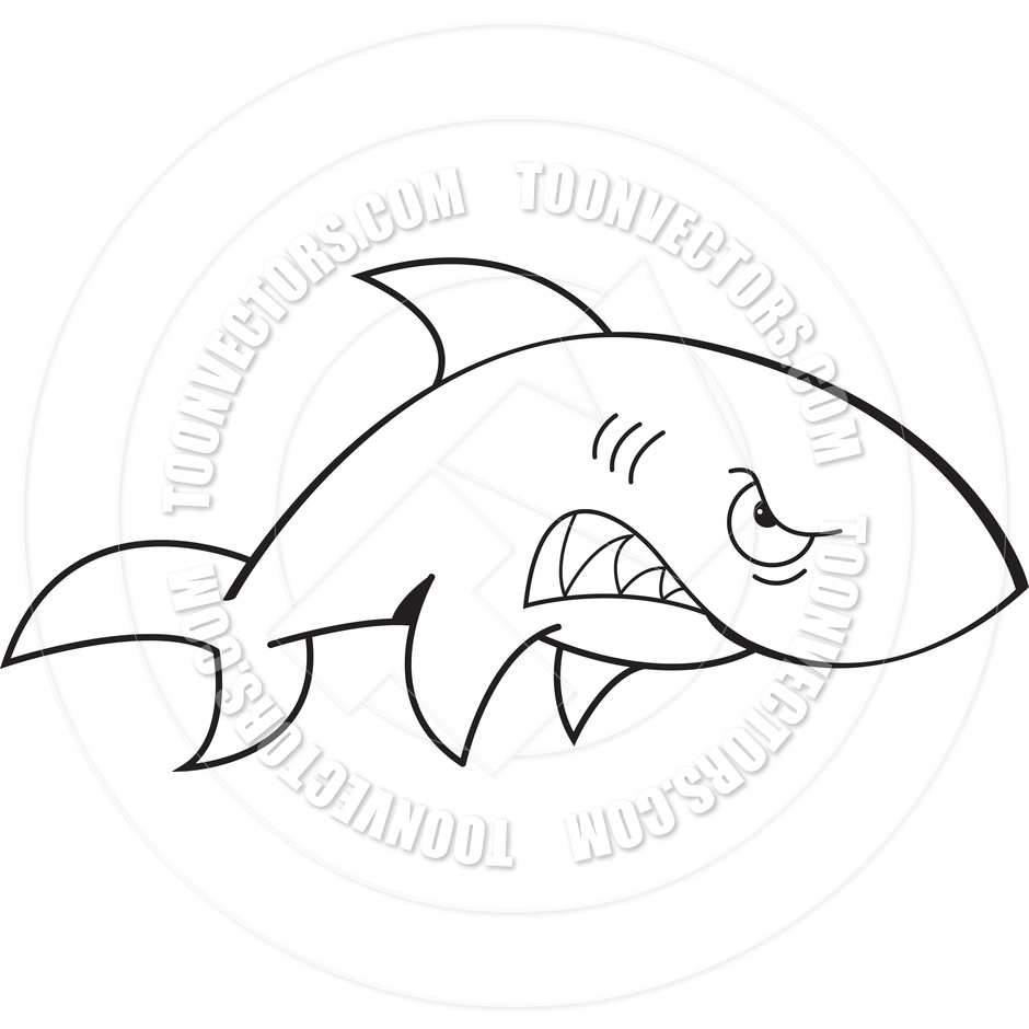 940x940 Cartoon Angry Shark (Black And White Line Art) By Kenbenner Toon