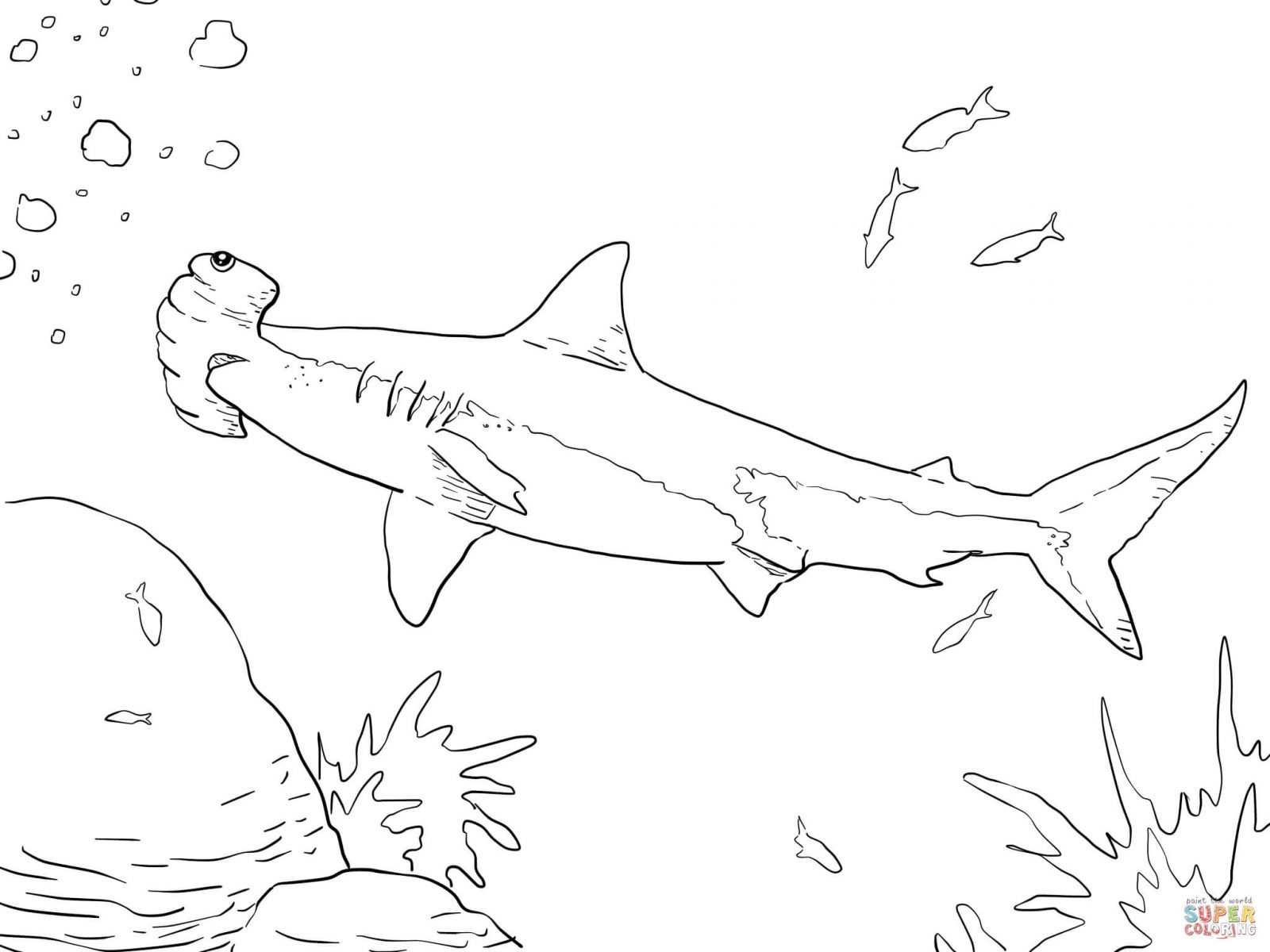 1600x1200 Free Shark Coloring Pages Intended For Toddler Hammerhead Page