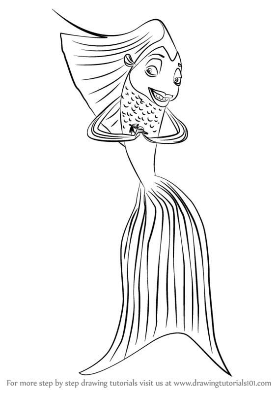 566x800 Learn How To Draw Angie From Shark Tale (Shark Tale) Step By Step