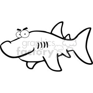 300x300 Royalty Free Black And White Shark 379830 Vector Clip Art Image