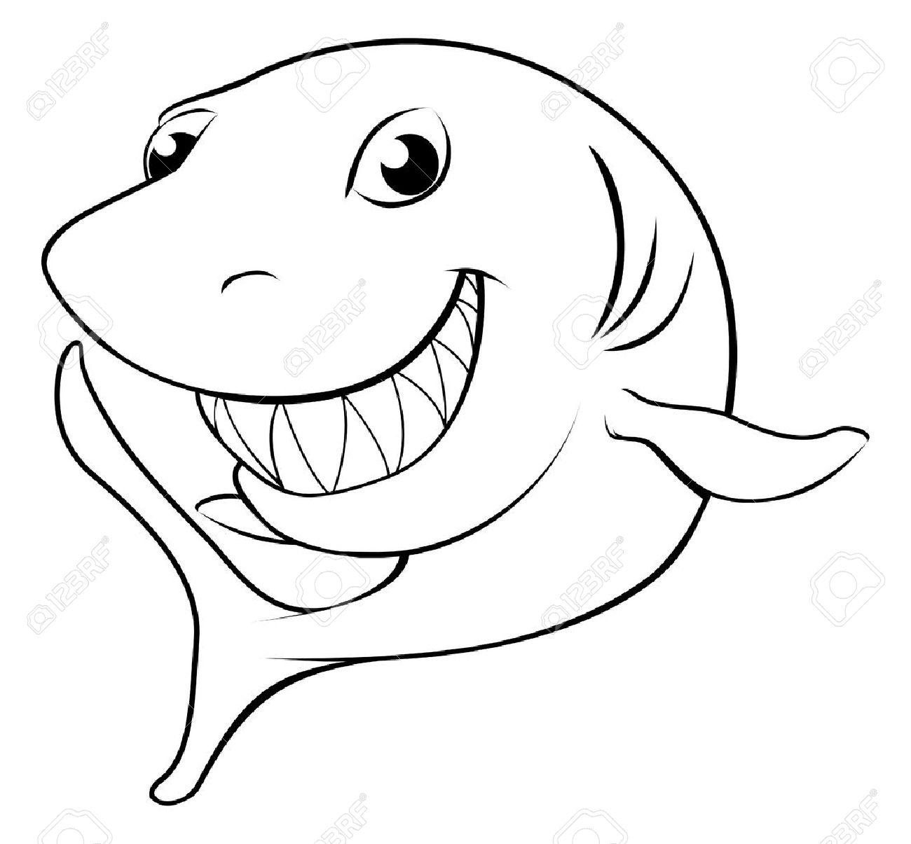 1300x1205 Black And White Illustration Of A Happy Cartoon Shark Royalty Free
