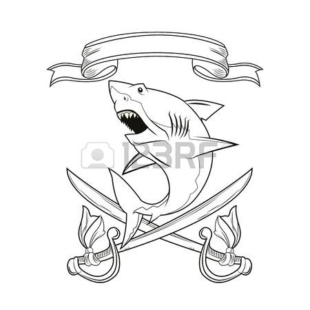 450x450 Shark Sword Ribbon Cartoon Pirate Tattoo Marine Nautical Icon