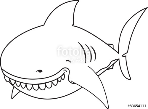 500x368 Smiling Cartoon Great White Shark.coloring Book Illustration