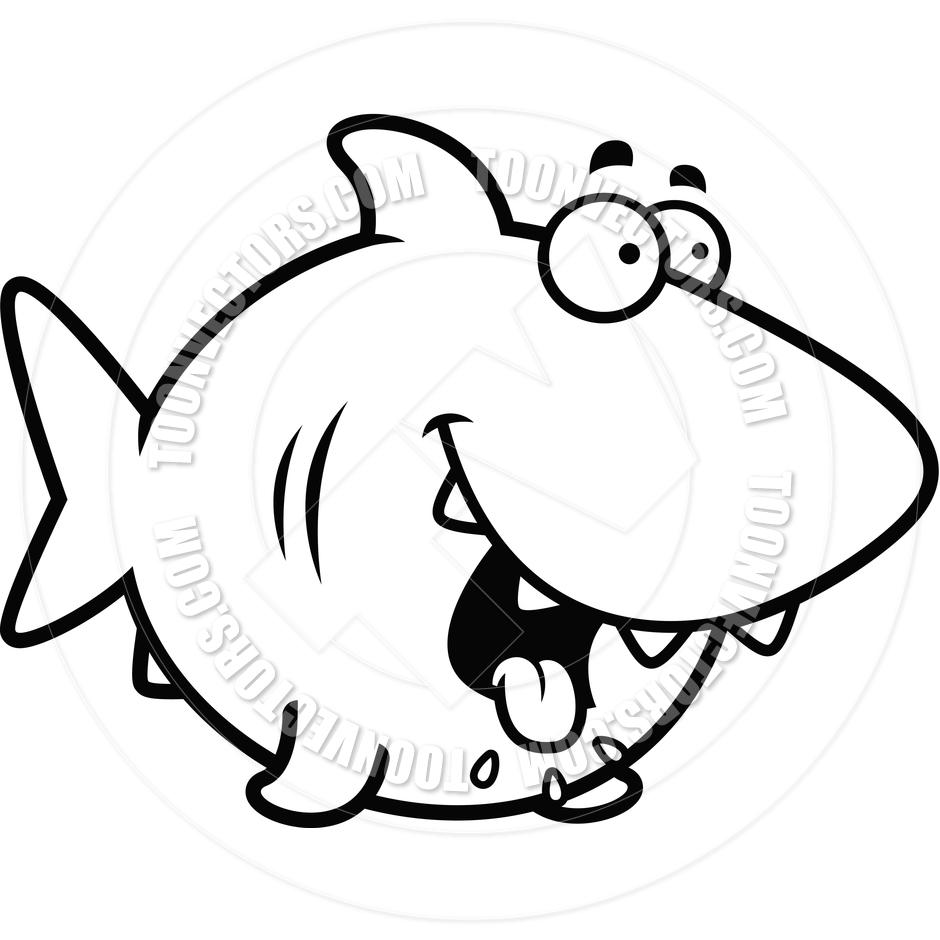940x940 Cartoon Shark Hungry (Black And White Line Art) By Cory Thoman