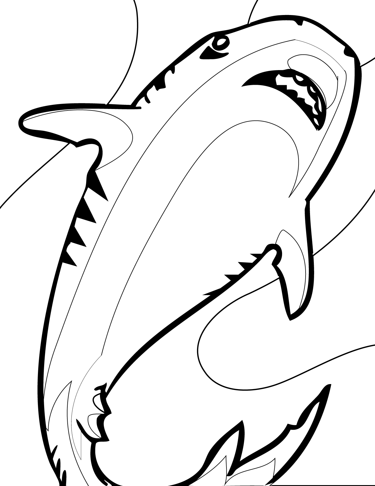 1275x1650 Colouring In Shark Kids Coloring