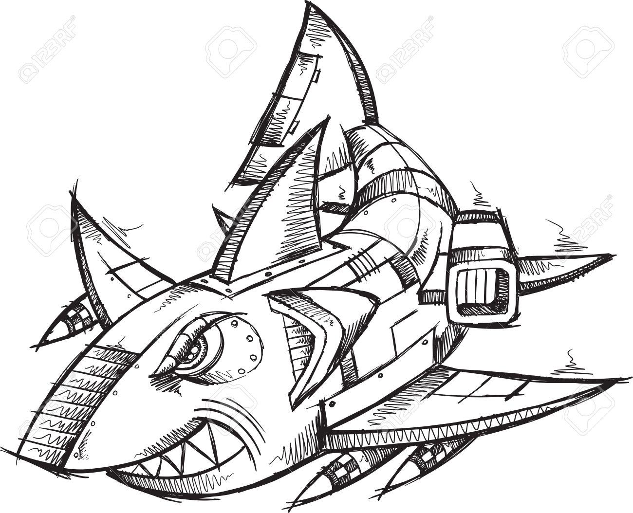 1300x1054 Sketch Doodle Robot Cyborg Shark Royalty Free Cliparts, Vectors