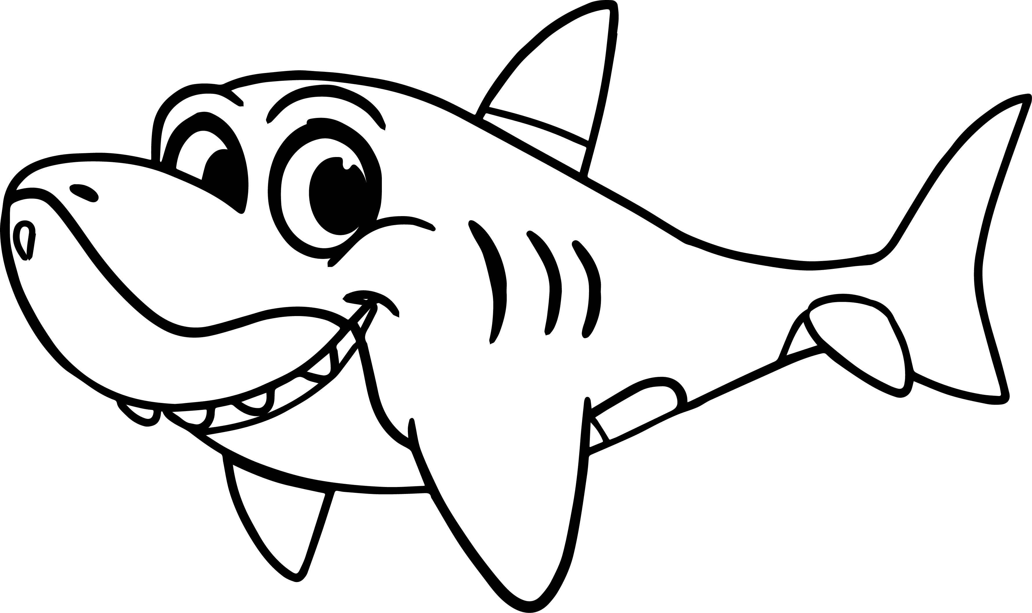 3562x2116 Coloring Page For Shark Free Draw To Color