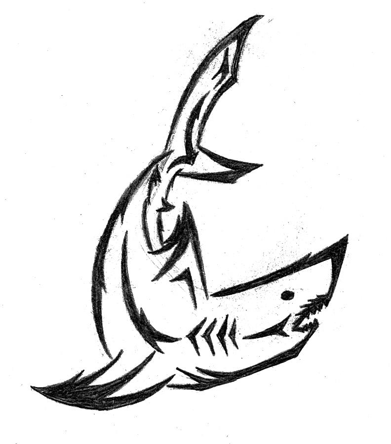great white shark tribal tattoo