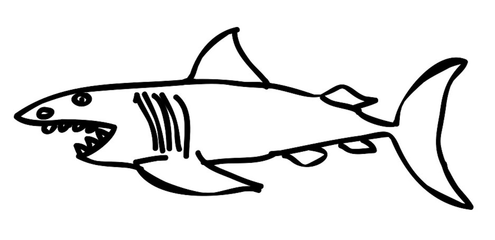 1600x777 Shark Drawing Template Clipart Best Lemon Shark Coloring Page