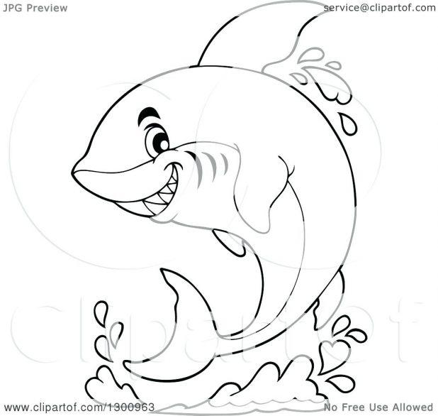 618x586 Coloring Marvellous Shark Outline. Shark Outline Drawing. Shark