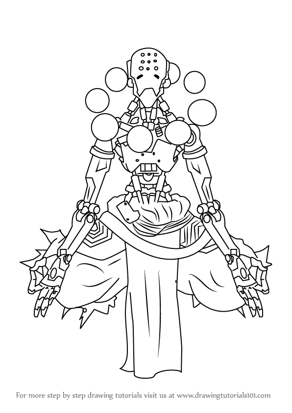 596x843 Learn How To Draw Zenyatta From Overwatch (Overwatch) Step By Step