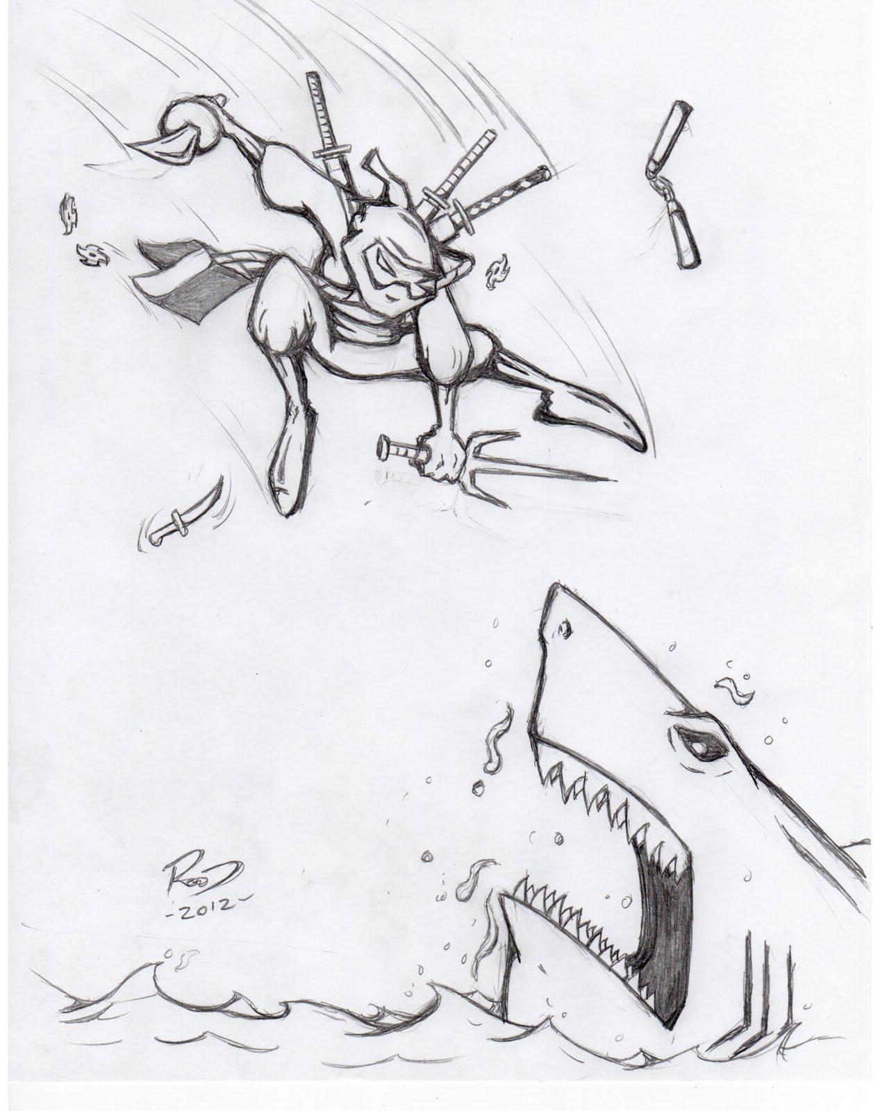 1257x1600 Phil Rood Illustration Ninja Vs Shark