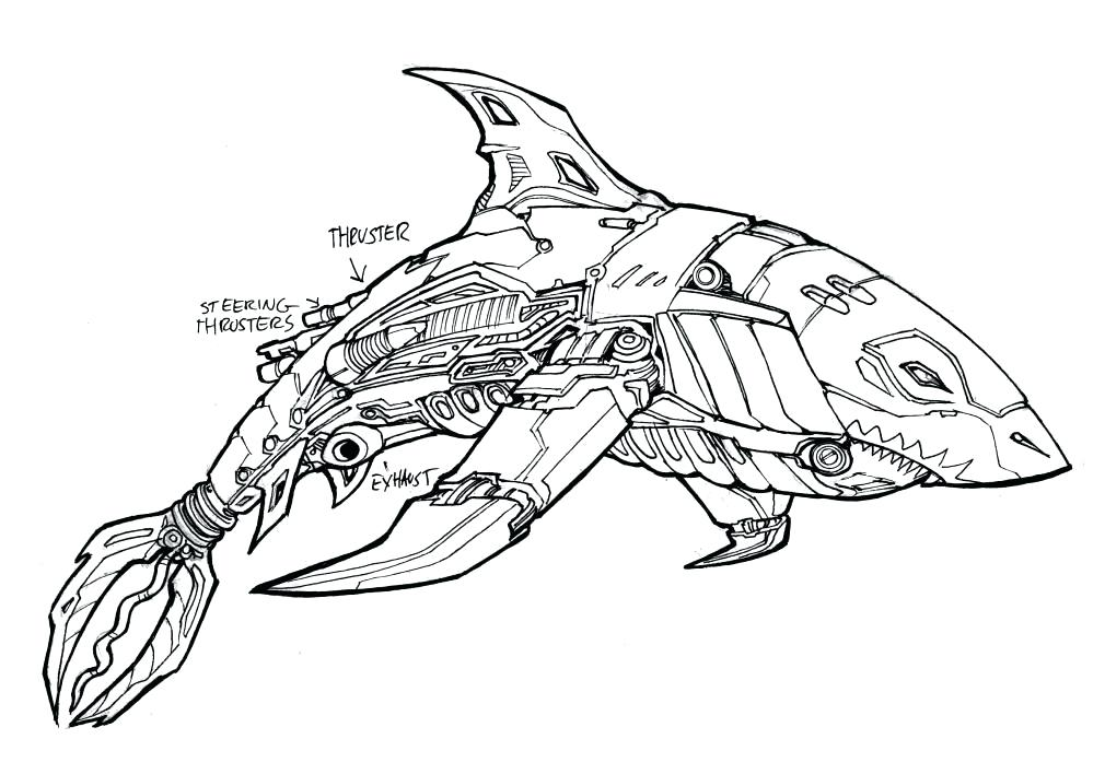 1010x708 Complete Shark Coloring Pages New Robot Page Kids Drawing