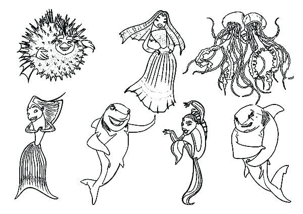 Zig and Sharko Coloring pages. Hyena, shark, mermaid Marina free | 424x600