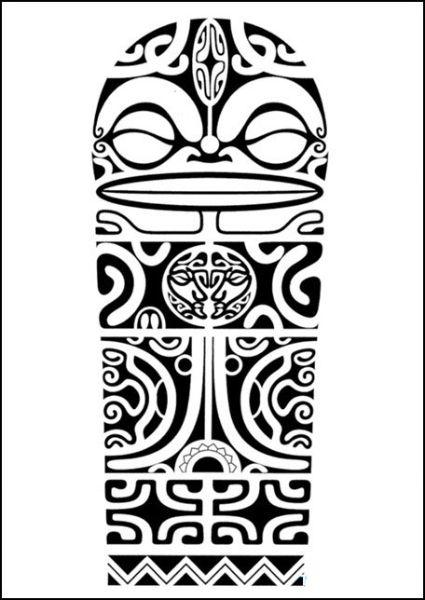 425x600 Polynesian Shoulder Tattoo Design With Marquesan Crosses, Tiki