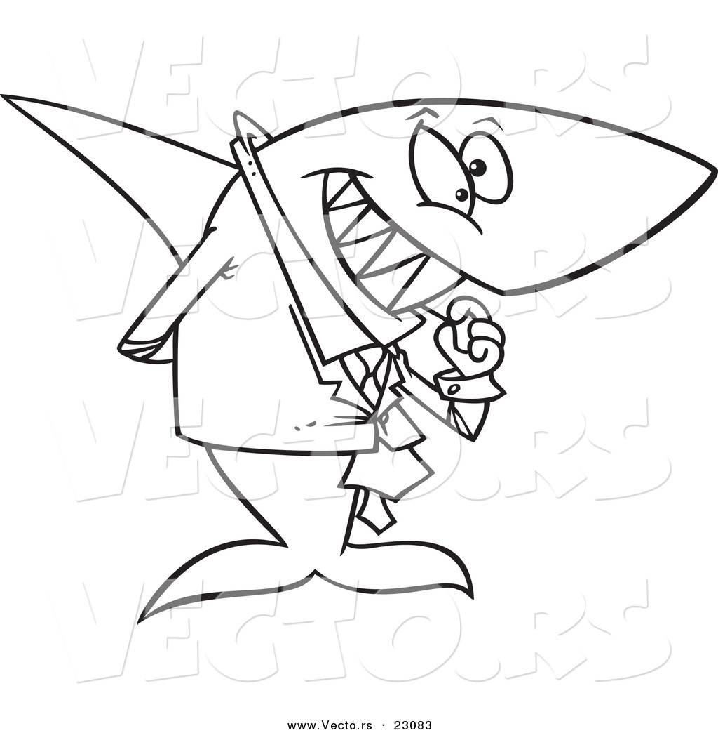 1024x1044 Vector Of A Cartoon Business Shark Picking His Teeth