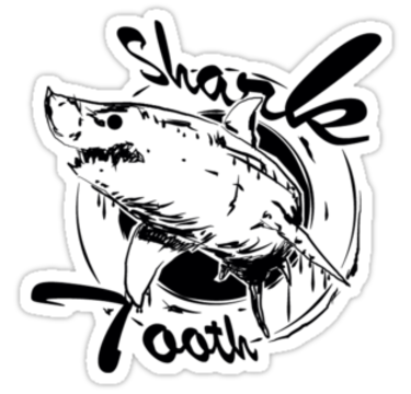 375x360 Vintage Shark Tooth Logo Stickers By Sharktooth22 Redbubble