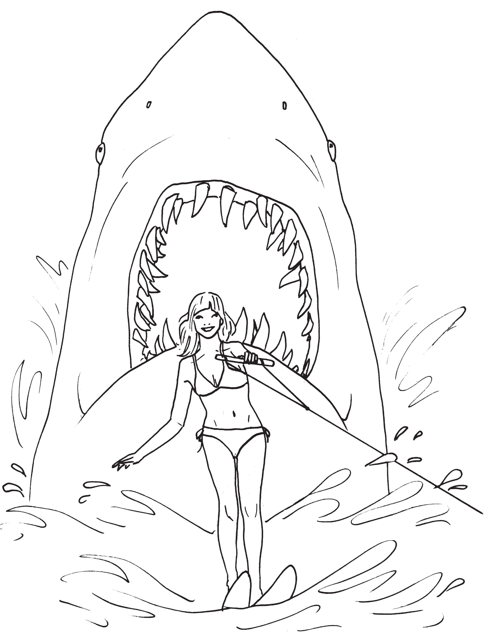 1912x2480 great white shark with mouth open in coloring pages