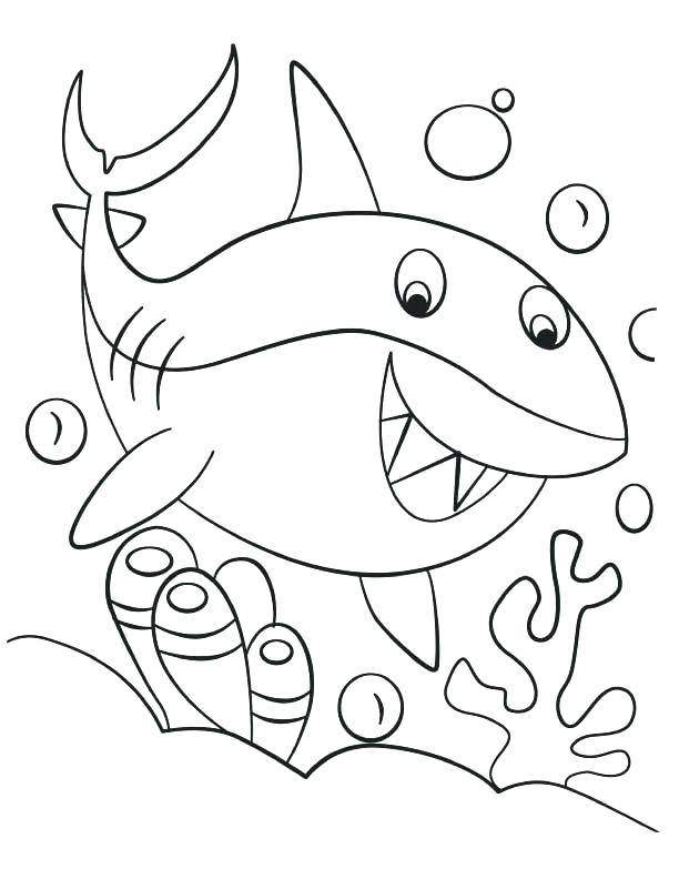 612x792 Coloring Page Shark Coloring Page Of Shark Happy Cute Shark