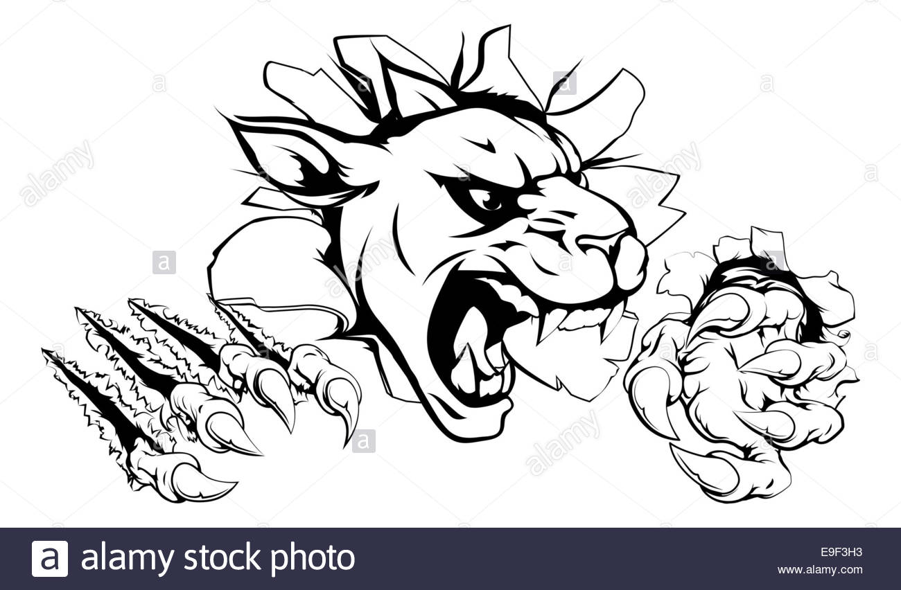 1300x852 A Scary Panther Mascot Ripping Through The Background With Sharp