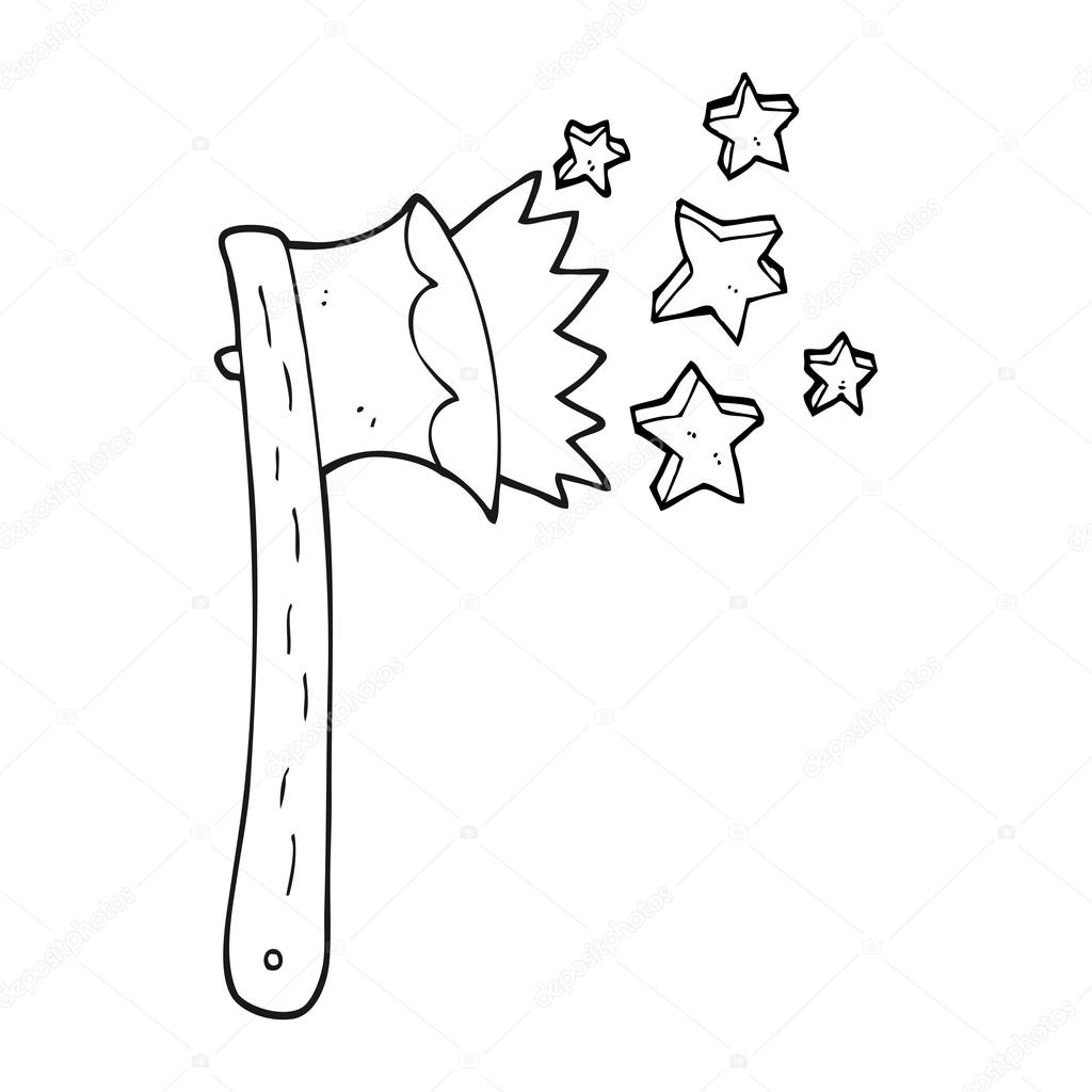 1024x1024 Black And White Cartoon Sharp Axe Stock Vector Lineartestpilot