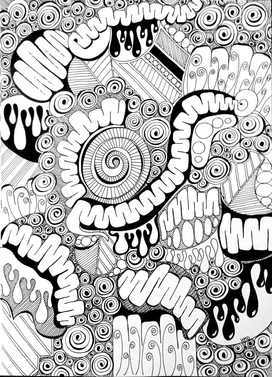921x1275 New! Doodle Prompt Viscera Phantasma Sharpie Art, Sharpie
