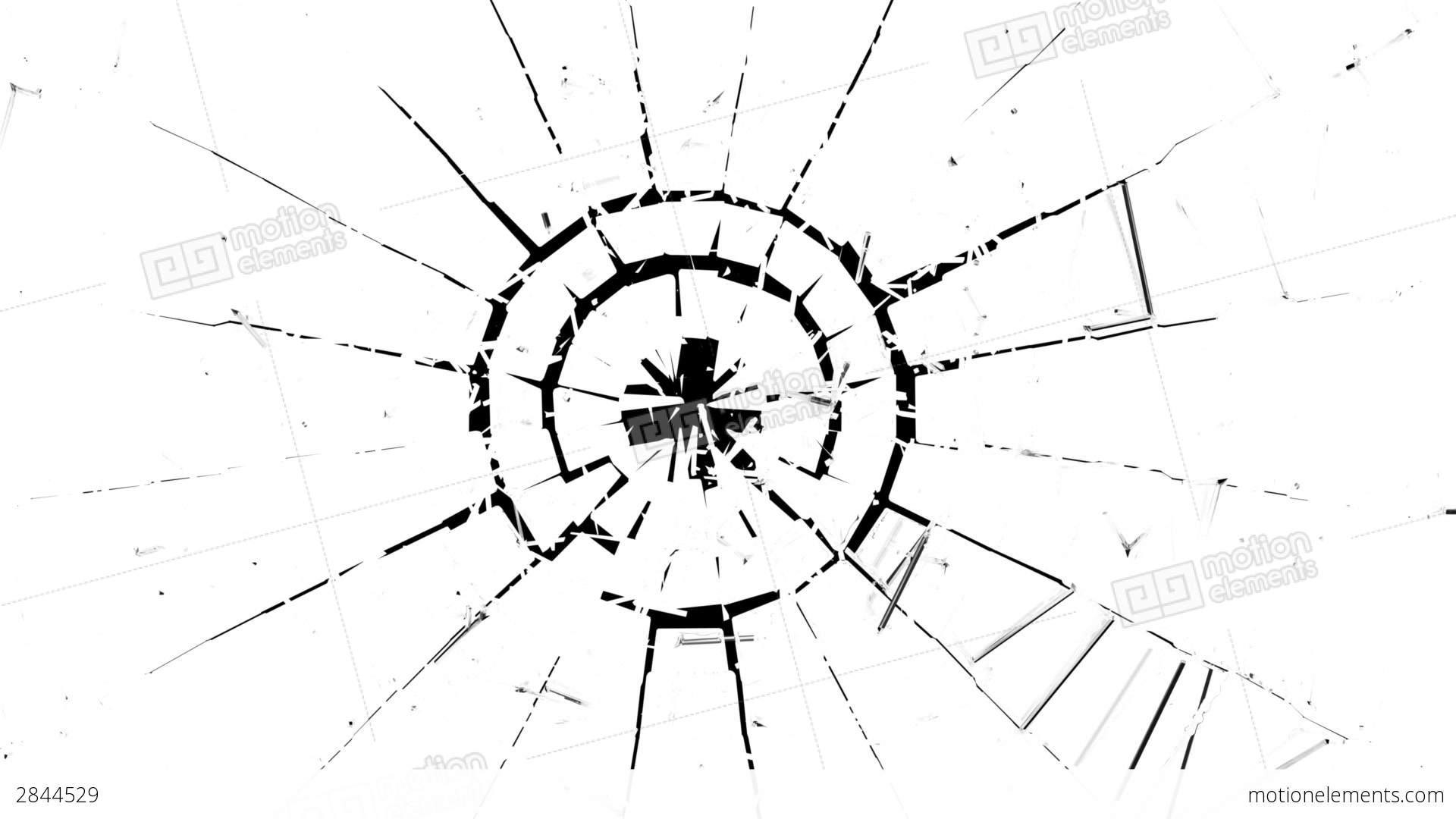 1920x1080 Cracked And Shattered Glass With Slow Motion. Alph Stock Animation