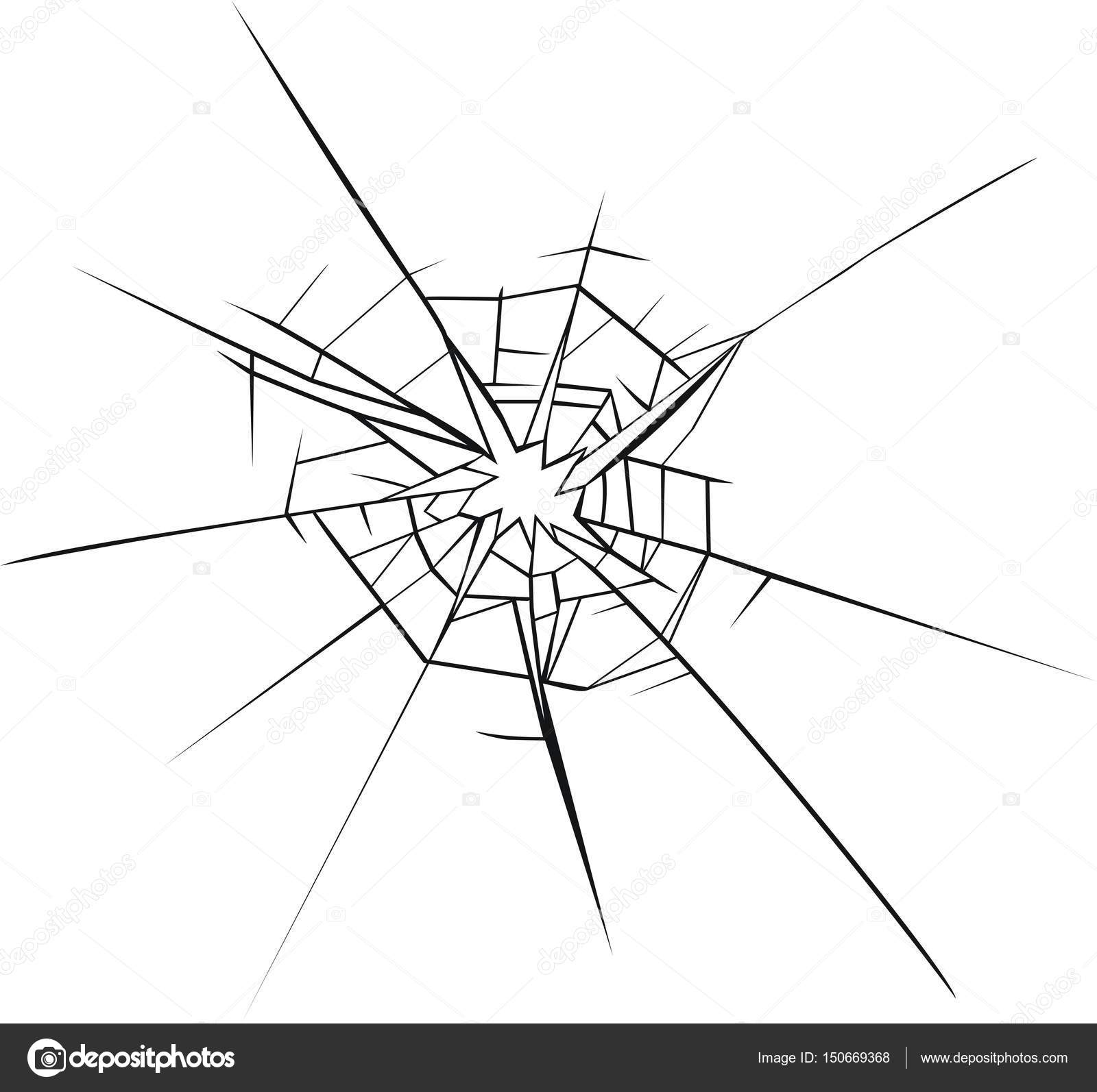 1600x1594 Broken Glass Effect. Hole In The Broken Glass Stock Vector