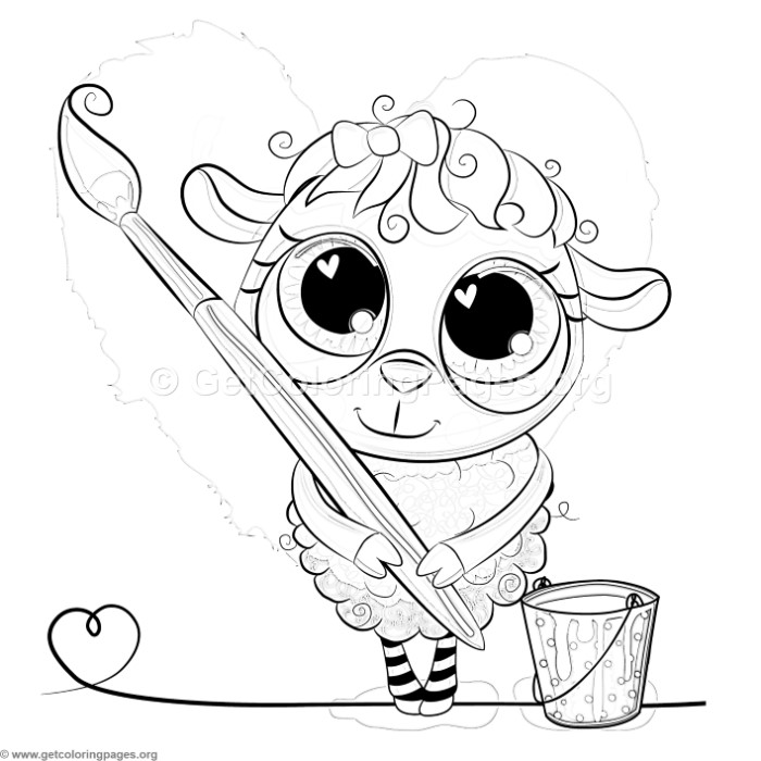 700x700 Cute Sheep Painter Coloring Pages