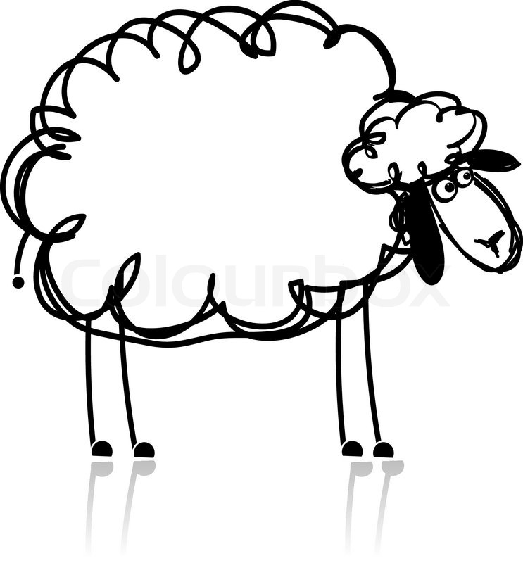 743x800 Funny White Sheep, Sketch For Your Design Stock Vector Colourbox