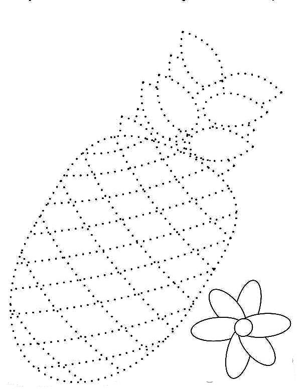 600x776 Draw The Pineapple Dotted Sheet Coloring Page