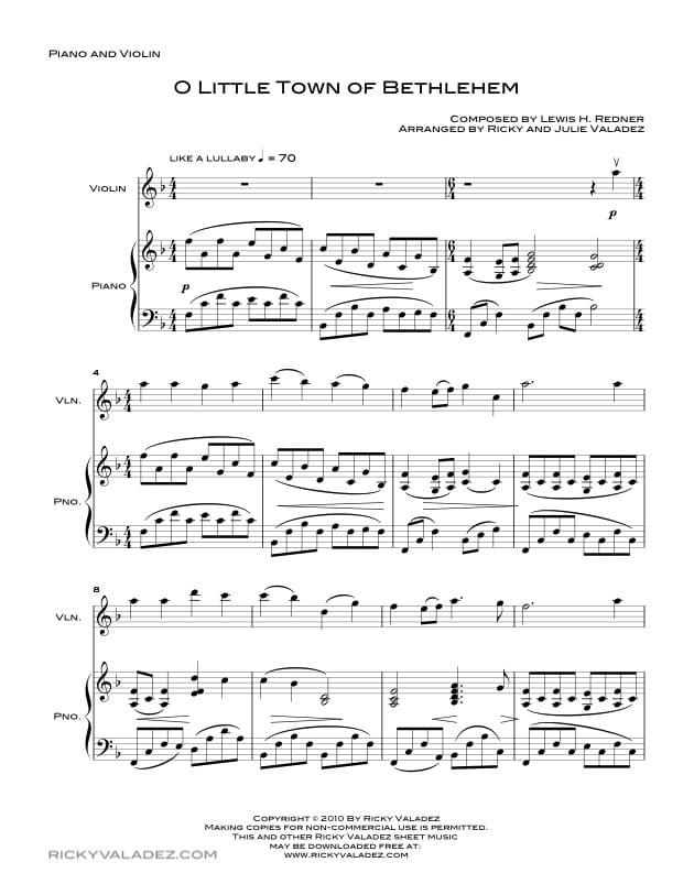 630x813 O Little Town Of Bethlehem Sheet Music Ricky Valadez
