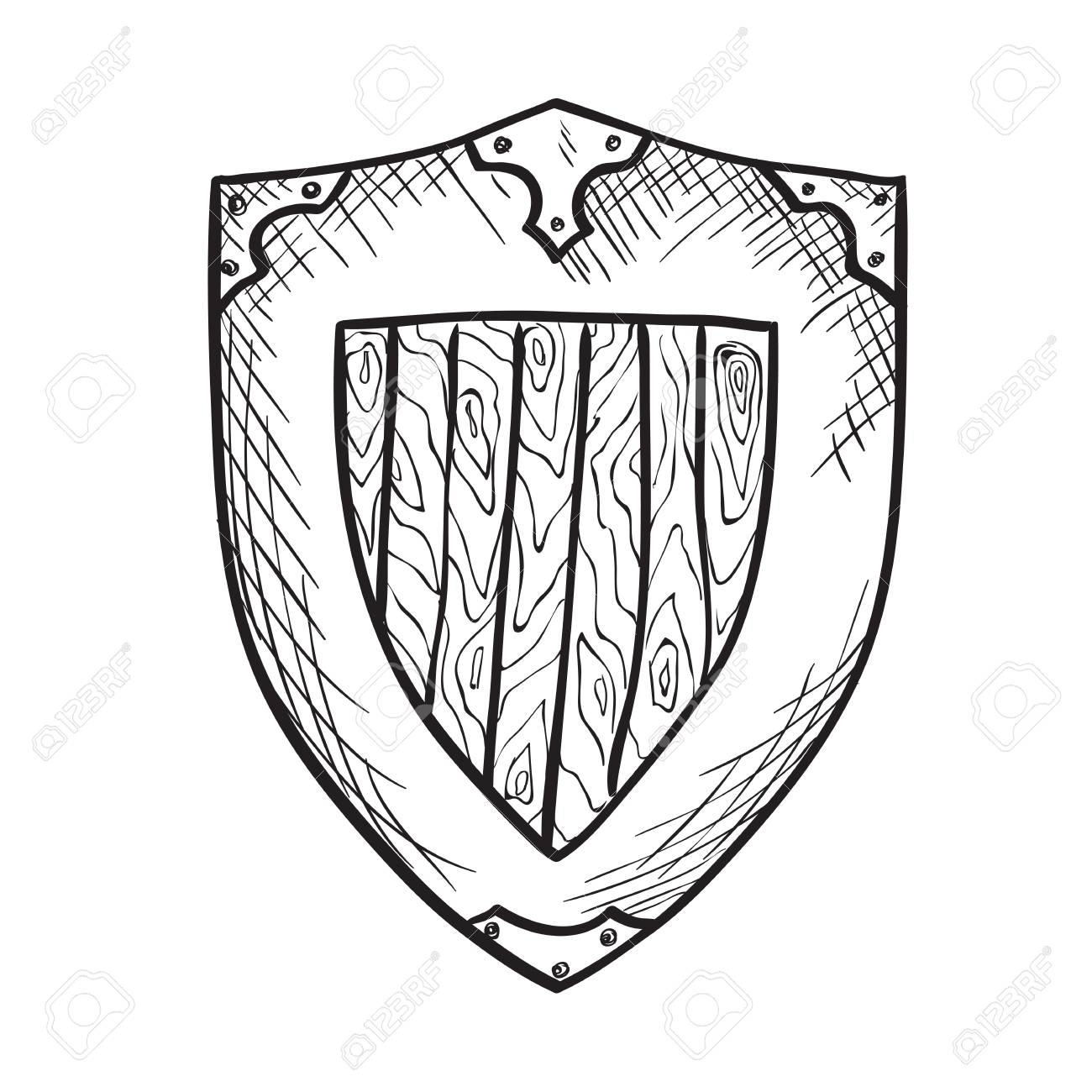 1300x1300 Hand Drawn Sketch Medieval Shield, Ink Drawing Imitation Stock