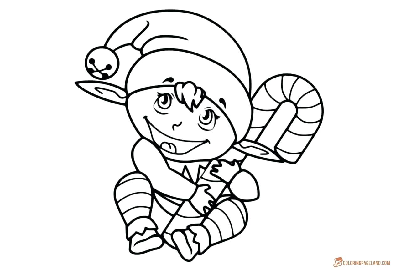 1280x870 Coloring Coloring Pages Elf Drawing Of Baby With Candy Cane Free