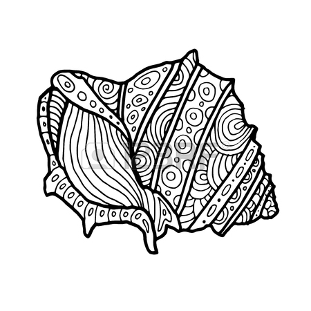 450x450 Adult Coloring Page With Corals And Sea Shells. Outline Drawing